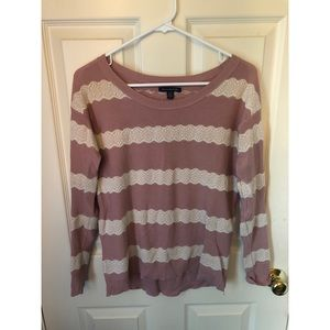American Eagle striped lace sweater